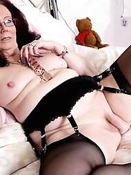 Granny strips  off  outside