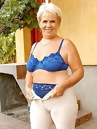 56 year senior grandmother Bonny unclothes off