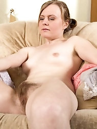 Inviting mature strumpet with hairy slit